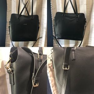 BN Steve Madden black leather tote with clutch